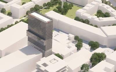 Das höchste Gebäude im Werksviertel: Das Hochhaus mit 24 Stockwerken auf dem ehemaligen Kartoffelsilo.