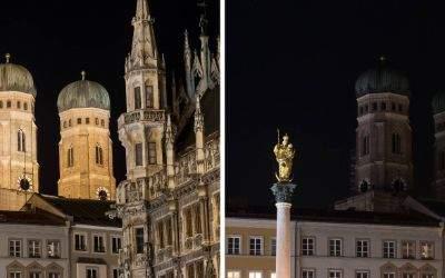 """Die Frauenkirche und das Rathaus in München, beleuchtet vor (links) und unbeleuchtet während der """"Earth Hour"""" am 25.3.2017"""