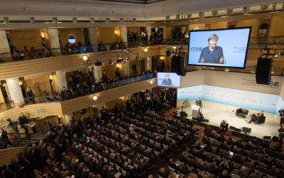 Bundeskanzlerin Angela Merkel bei ihrem Statement auf der Münchner Sicherheitskonferenz am 18.2.2017