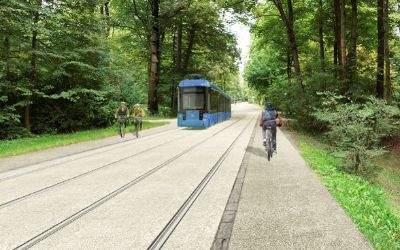 Visualisierung: So könnte die Tram durch den Englischen Garten aussehen