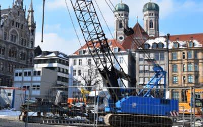Probebohrungen der Bahn am Marienhof für den Bau der 2. Stammstrecke