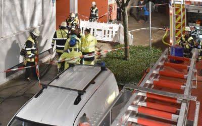 Einsatz der Münchner Feuerwehr nach einem Rohrbruch in der Klenzestraße am 5.1.2018