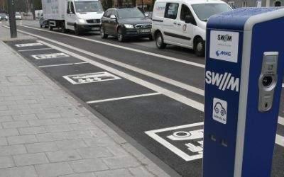 Ladesäule für Elektroautos an der Mobilitätsstation Münchner Freiheit