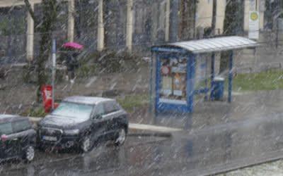 Schneetreiben in München