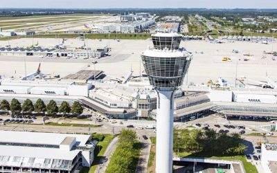 Totale des Flughafens München - Panorama-Aufnahme