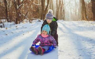 Kinder rodeln im Wald