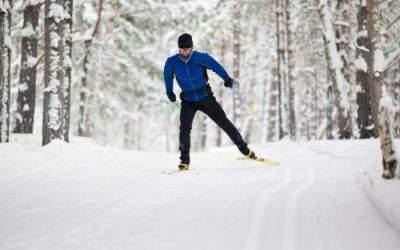 Langläufer fährt durch schneebedeckten Wald