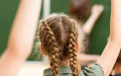 Schulkinder melden sich in Klassenzimmer
