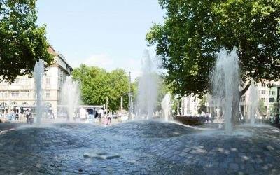 Panorama vom Sendlinger-Tor-Platz im Sommer