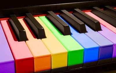 Klaviertasten in Regenbogenfarben