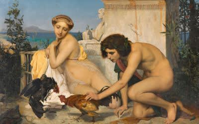 Jean-Léon Gérôme (1824-1904: Junge Griechen beim Hahnenkampf, 1846, 143 x 204 cm, Öl / Leinwand