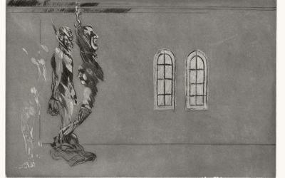 | Alfred Hrdlicka, Wie ein Totentanz – Die Ereignisse des 20. Juli 1944, Blatt 49, Goerdeler,  1974 | 395 x 600 mm, Aquatinta geschabt und Kaltnadel auf Kupfer