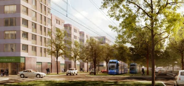 Visualisierung des GEWOFAG-Bauvorhabens in Freiham.