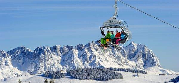 Winter, Bergpanorama, Sessellift, Skifahrer