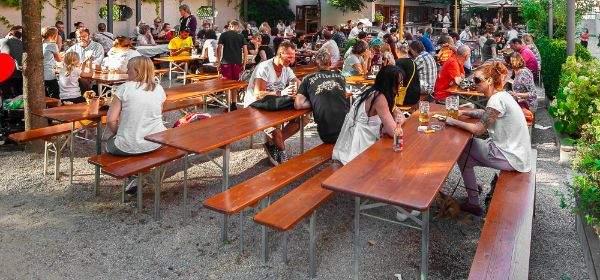 Der Biergarten im Muffatwerk