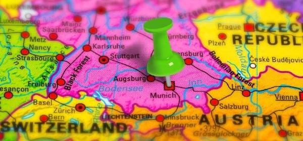 Landkarte von Europa mit Pin in München