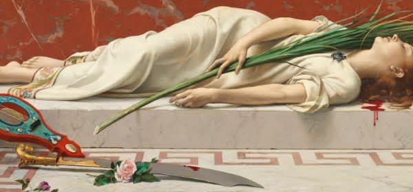 Etienne Gautier (1842-1903) Die tote Cäcilia (von Rom), 1878 109 x 192 cm, Öl / Leinwand