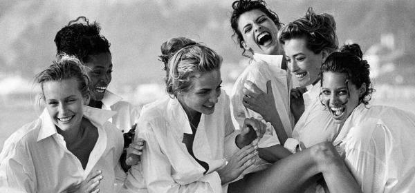 White Shirts: Estelle Léfebure, Karen Alexander, Rachel Williams, Linda Evangelista, Tatjana Patitz & Christy Turlington, Malibu, 1988