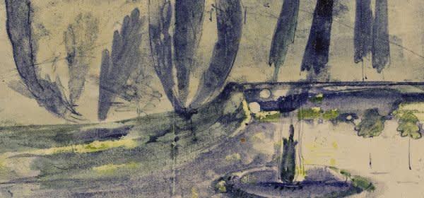 Joseph Beuys, Nächtliches Zypressenbild, 1945
