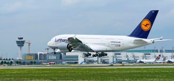 A380 der Lufthansa am Flughafen München